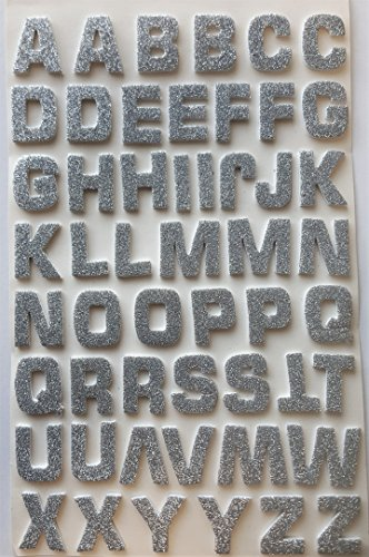 Glitterati 52 Foam 3 D effect Self Adhesive Large Silver Glittery ALPHABET/LETTER Stickers