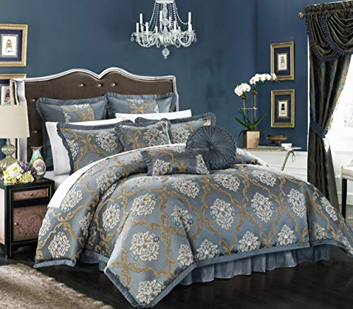 Chic Home CS4622-AN 9 Piece Aubrey Decorator Upholstery Quality Jacquard Scroll Fabric Bedroom Comforter Set & Pillows Ensemble, Queen, Blue