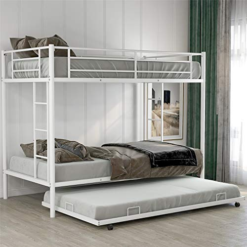Metal Bunk Bed with Trundle, Twin Over Twin Metal bunk Bed with Trundle, with Safety Guard Rails for Kids Teens Adults. (White)