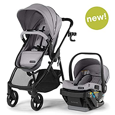 Summer Infant Myria Modular Travel System with The Affirm 335 Rear-Facing Infant Car Seat, Stone Gray