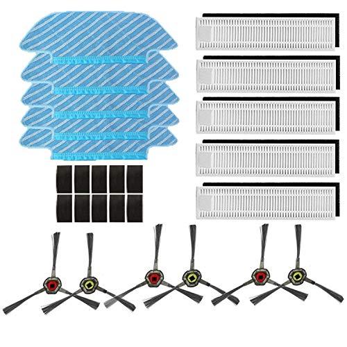iAmoy Filter und Reinigungstuch Kit Ersatz,5 * Wischtuch + 5 * Filter + 6 * Seitenbürsten,kompatibel with Ecovacs Deebot OZMO Slim 10 Roboter Staubsauge
