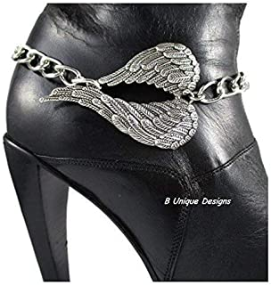 Large Angel Wings Boot Bracelet Bling Jewelry Accessory Motorcycle Iron Chain Handmade Personalized Women's Accessories Western Biker