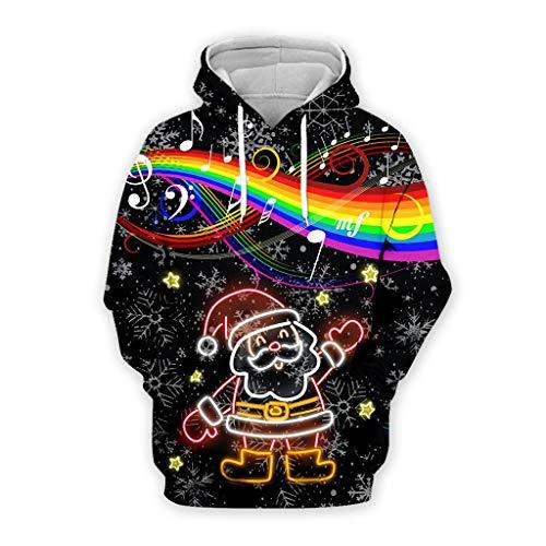 YXIU Weihnachtspulli Pullover für Damen/Herren, Unisex 3D Weihnachts Kapuzenpullover Langarm Hoodies Pullover Party Bluse Top Sweatshirt Weihnachtspullover