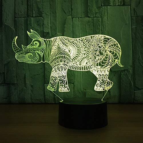 Rhino 3d kleine Nachtlampe buntes geführtes Nachtlicht-Weihnachtsgeschenk für Babyzimmerlichter-Kinderlampe