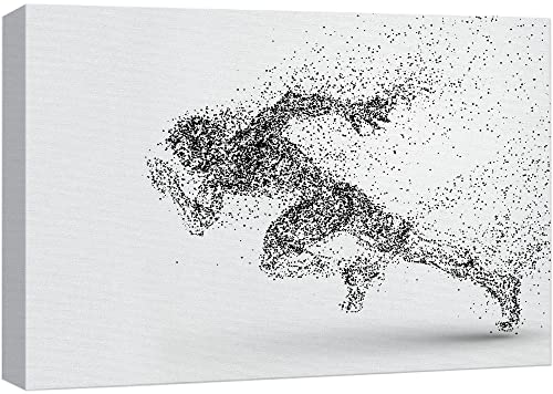 wall26 - Canvas Wall Art Sports Theme - Abstract Shape a Running Man Formed Dots - Giclee Print Gallery Wrap Modern Home Art Ready to Hang - 24x36 inches