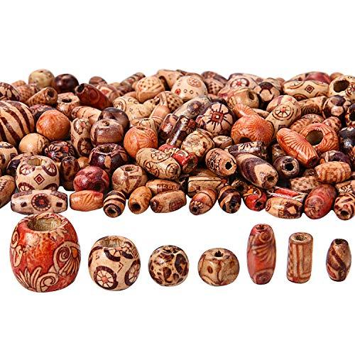 Bememo 400 Stück Gedruckt Holzperlen Verschiedene Formen Lose Holzperlen für Schmuck DIY Armband Halskette Haar Handwerk