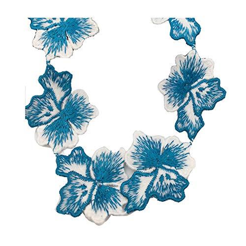 KOLIGHT 15yards Breedte 2inch Geborduurde Craft Fringe Trim Bruiloft Party Jurk Decoratie Lichtblauw
