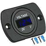 DC 12V 24V Car Voltmeter LED Digital Display Voltmeter Panel, Waterproof Digital Round Panel Voltage Tester Gauge Meter with Terminals for Boat Marine Vehicle Motorcycle Truck ATV UTV (Blue Light)
