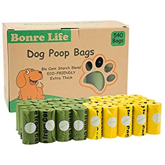 Bonre Life-Dog Poop Bags-540 BioBags,Super Strong,Extra Thick,Leak Proof Dog Waste Bags Made from Corn Starch,Biodegradable Dog Poo Bags 18