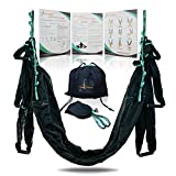 Aerial Yoga Swing Hammock – Strong & Durable Antigravity Inversion Kit with Trapeze Sling – Ideal for Home & Gym Fitness (Black)
