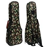 HOT SEAL 10MM Leather Handles Thick Durable Colorful Ukulele Case Bag with Storage (23/24in, Camouflage)