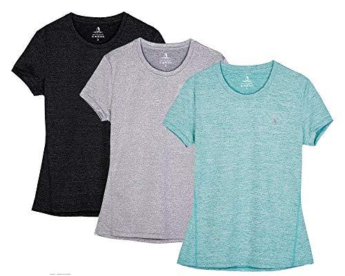 icyzone Sport T-Shirt Damen Kurzarm Laufshirt - Trainingsshirt Fitness Shirt Oberteile Rundhals (M, Black/Granite/Green)