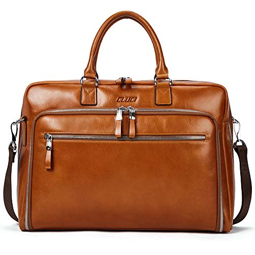 Cluci Oil Wax Genuine Leather Briefcases for Men Slim 15.6' Laptop Case Business Messenger Carry On Shoulder Bags for Women Brown