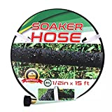 Suneed Soaker Hose 7.5 FT 15 FT, Soaker Hose for Garden 30 FT 50 FT 75 FT, Short Garden Hose Heavy Duty Water Hoses for Soaker, Drip Hoses Save 70% Water (15 FT)