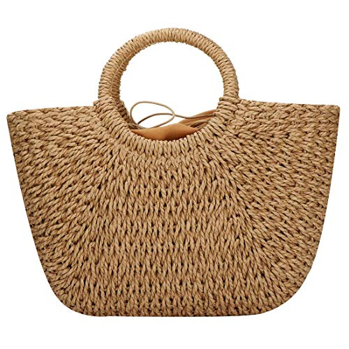 Hand-woven Straw Large Hobo Bag for Women Round Handle Ring Toto Retro Summer Beach (Brown)