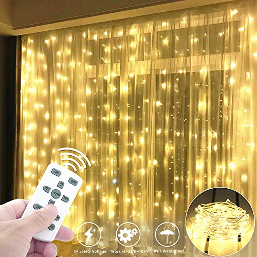 Fxexblin Curtain Lights Detachable 300 Leds 98ft3m Led String Fairy Lights 8 Different Modes Of Remote Control Timer Usb String Lights Christmas