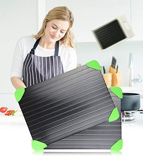 YLEI Schnell Auftauen Platte, Abtauung Tablett mit Silikon Gummi Ecke, Einfaches Auftauen der schnell und natürlich auftaut, einfache Reinigung,23 * 16.5 * 0.3cm