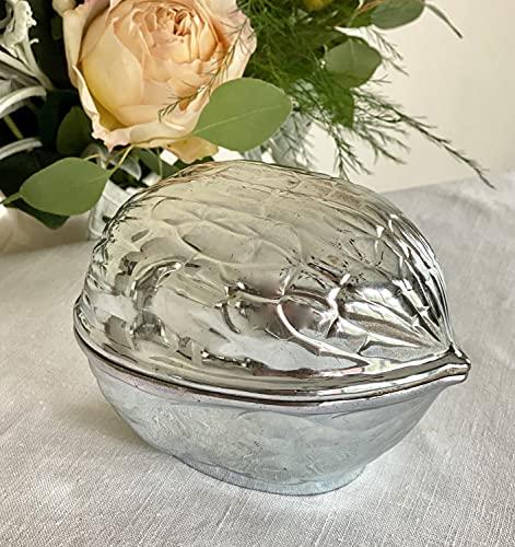 Elegant silverplate The Walnut Covered Candy nut Bowl Box f.b. Rogers Silver Company Taunton Massachusetts 772519