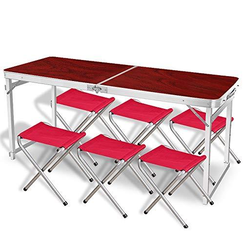 JIADUOBAO Klapptisch, 120 cm, höhenverstellbar, für 6 Personen, tragbar, Picknicktisch für Outdoor, Camping, Grillpartys (Farbe: Rot)