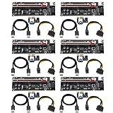 BEYIMEI PCI-E1X a 16X cable de extensión de tarjeta vertical, con cable de extensión USB 3.0 de 0,6 m y cable de alimentación SATA de 6 pines - Tarjeta extensora de GPU- Ethereum Mining ETH (6 piezas)