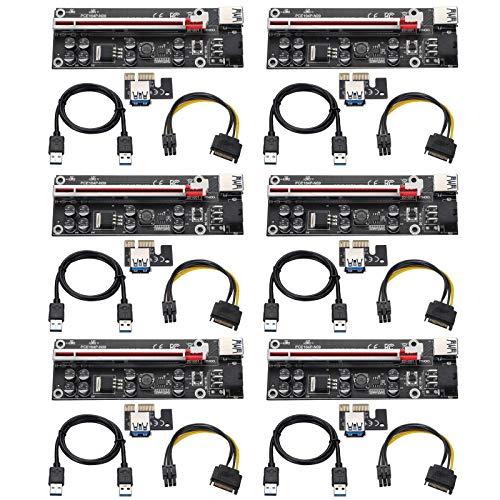 BEYIMEI 6 Pin PCI-e da 1x a 16x Scheda Riser Potenziata, con Cavo di prolunga USB 3.0 da 0,6 m e Cavo di Alimentazione SATA 6PIN - Scheda Riser Extender GPU - Ethereum Mining ETH (6 Pezzi)