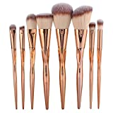 8 Unids/set Pinceles de Maquillaje Fundación Sombra de Ojos Blush Mezcla de Labios Kit de Herramientas Cosméticas Kit de Pinceles en Polvo(Oro rosa)