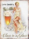 Vintage Boissons John De Smith Bière Blonde Girl bière Bar Pub café Métal/Panneau Mural Métalique - 20 x 30 cm