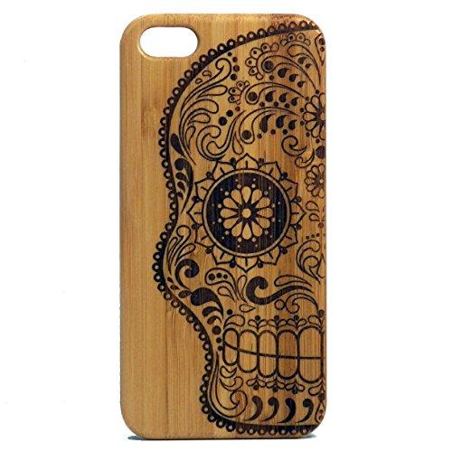 iMakeTheCase Sugar Skull iPhone 6 Plus or 6S Plus Case. Day of the Dead Mexican Calaveras Catrina Dia De Los Muertos. Bamboo Phone Cover. Brown Wood