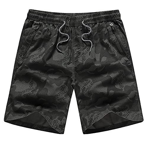 Pantalones Cortos De Hombre Camouflage Shorts Men Casual Zipper Pocket Beach Shorts Male Elastic Waist Boardshorts L Black