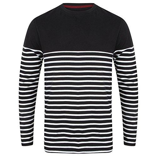 (フロント・ロウ) Front Row メンズ ブレトンストライプ 長袖 Tシャツ カットソー ロンT (XL) (ネイビー/ホワイト)