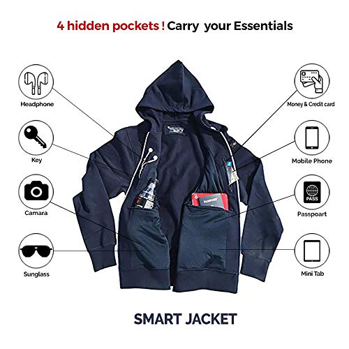 Pickpocket Proof Traveling Hoodie with 4 Secret Hidden Pockets, Smart Jacket for Holiday Tour (Navy, X-Large)