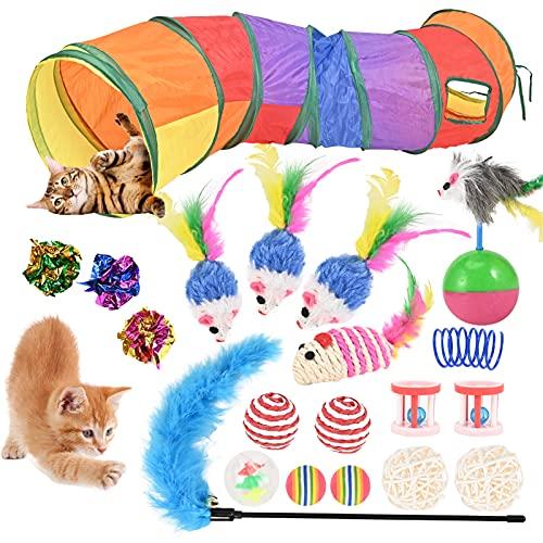 20 Stück Katzenspielzeug Set mit Katzentunnel, Bälle, Federspielzeug, Plüschspielzeug, Spielzeugmäuse Katzen Spielzeug Variety Pack für Kitty Katzen