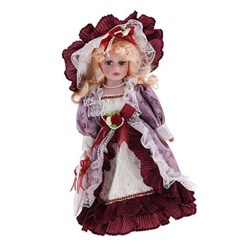 D DOLITY 30cm Porzellan-Puppe mit Halterung - hübsche Viktorianische Mädchen Puppe mit Kleidung Dekoration - # D