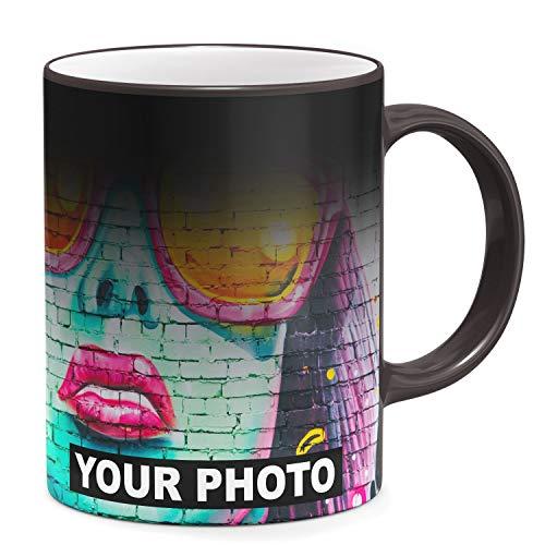 Fototasse Tasse mit eigenem Foto & Text Tassendruck personalisiert Geschenk Zaubertasse Farbwechsel Magic-Tasse Schwarz [117]