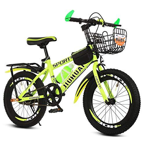 GZMUK Bicicleta De Montaña para Adultos Y Niños 20 Pulgadas (22 Pulgadas, 24 Pulgadas) Marco De Acero Al Carbono,Amarillo,18in