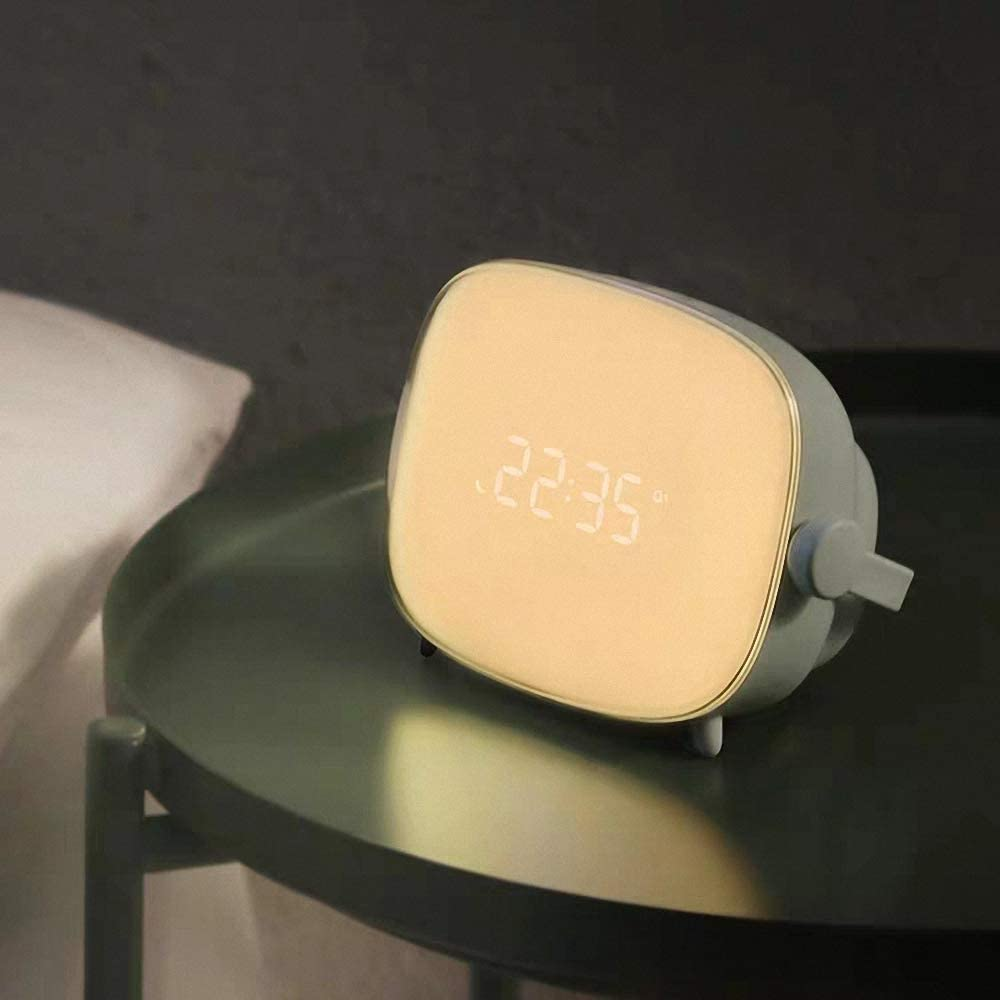 Grau Blau Kreative Tv-Nachtlicht Mit Sonnenaufgang Simulation Tubeshine Wake Up Light Wecker Lampe USB-Lade Nacht Nachttischuhr Lampe