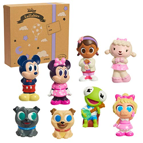 Disney Junior Music Lullabies Bath Toy Set, Includes Mickey Mouse, Minnie Mouse, Bingo, Rolly, Doc McStuffin, Lambie, Kermit, and Piggy Water Toys, Amazon Exclusive