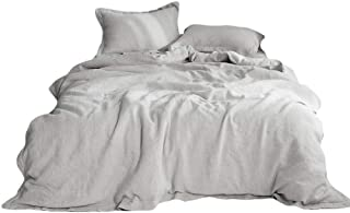 Simple&Opulence 100% Linen Pure Solid Color Embroidery Border Queen King Duvet Cover Set(Multi-Colored Options) (Twin, Light Grey)
