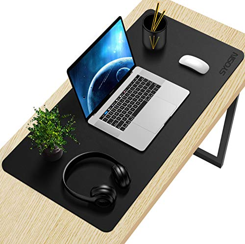 SYOSIN Tappetino Scrivania, Sottomano da Ufficio, Tappetino da Tavolo, 80cm x 40 cm antiscivolo tappetino mouse da scrivania in pelle PU impermeabile sottomano,Tappetino per Laptop