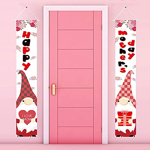 Gehydy Mother's Day Gnome Porch Banner Front Door Welcome Sign Decoration 2021 New for Mother's Day Theme Outdoor Indoor Home Wedding Party Farmhouse Décor (2 Pcs)
