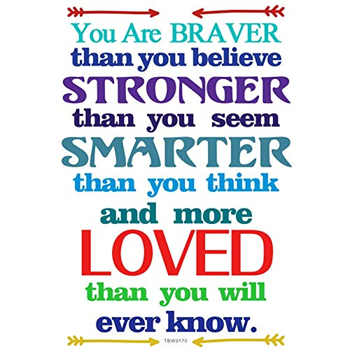 Colorful Inspirational Quote Wall Decals Kids Motivational Lettering Wall Stickers You are Braver Than You Believe Stronger Value Art Positive Quote Sticker for Playroom Kids Decoration