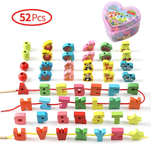 Wooden Lacing Beads for Toddlers, Jumbo Beads Fine Motor Skills Montessori Toys, Preschool Learning...