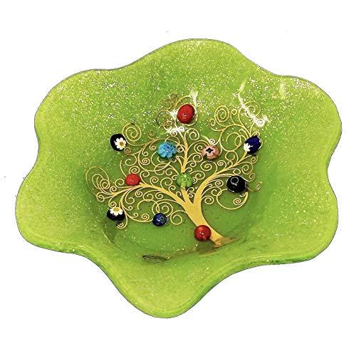 SOSPIRI VENEZIA Bol vide fleur en verre de Murano arbre de vie 19 x 19 cm, verre, décoration murrine et feuille d'or, fabriqué à la main par des artisans vénitiens (vert)