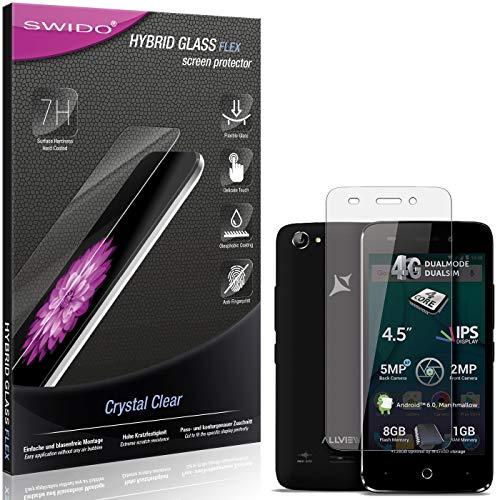 SWIDO Panzerglas Schutzfolie kompatibel mit Allview P5 Lite Bildschirmschutz-Folie & Glas = biegsames HYBRIDGLAS, splitterfrei, Anti-Fingerprint KLAR - HD-Clear