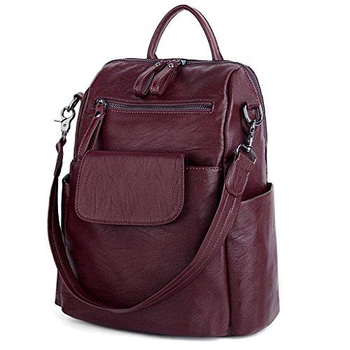 UTO Damen Backpack Purse PU gewaschen Leder Ladies Rucksack Schultertasche rot