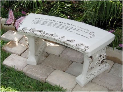 Southwest Graphix Hand Crafted 'Walking with Grandma & Grandpa' Cast Stone Garden Bench Personalization Available