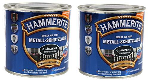Hammerite Metallschutzlack 0,5l / 2x 250ml Set/dunkelgrün - glänzend