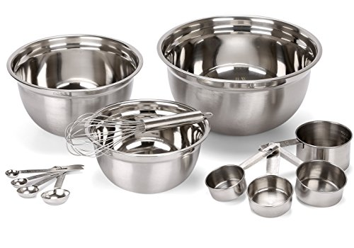 Estilo 12 Piece Stainless Steel Mixing Bowls, Includes Measuring Cups, Measuring Spoons And...
