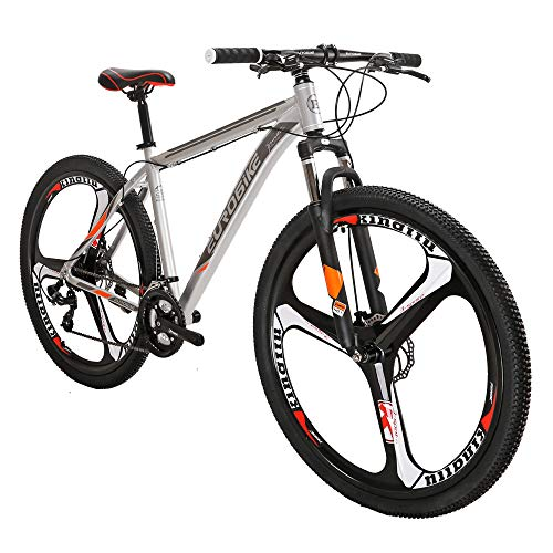 Eurobike Aluminum Frame X9 Mountain Bike 29 Inch 3 Spoke Wheels 21 Speed Bicycle Silver