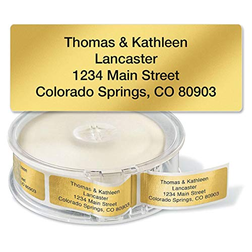 Gold Foil Rolled Personalized Return Address Labels with Dispenser – Set of 250, Small, Metallic, Self-Adhesive Labels, by Colorful Images